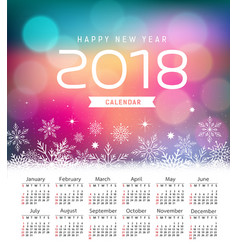 calendar new year 2018 snowflake and purple vector image vector image