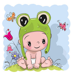 cute cartoon baby in a froggy hat on the meadow vector image vector image