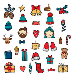 hand drawn xmas stickers collection hipster style vector image
