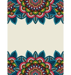 Indian doodle floral frame vertical vector image
