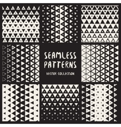 Set of Eight Seamless Hand Drawn Halftone vector image vector image