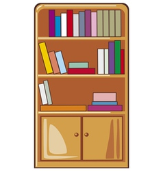 books on wooden shelves vector image vector image