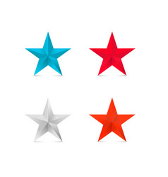 coloder 3d stars red star blue silver bronze vector image