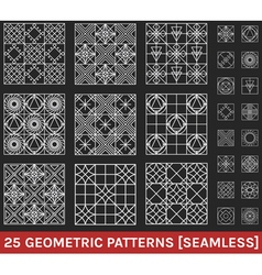 Set of 25 abstract geometric patterns black vector image vector image