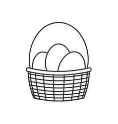 basket with easter eggs line icon vector image vector image