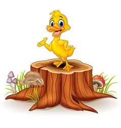 Cartoon funny duck presenting on tree stump vector image