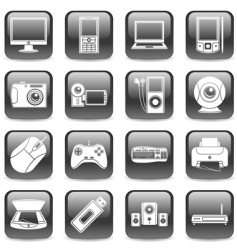 computer and media icons vector image vector image