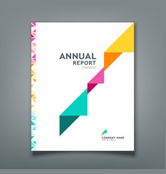 cover annual report colorful triangle paper vector image vector image