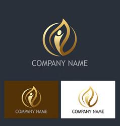 gold leaf people beauty logo vector image