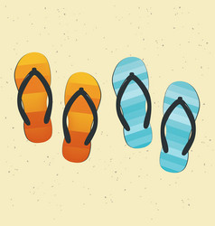 pair of colorful flip-flops on sand vector image vector image