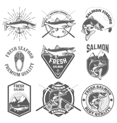 Set of vintage labels with salmon fish Salmon vector image vector image
