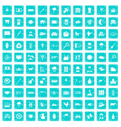 100 cow icons set grunge blue vector