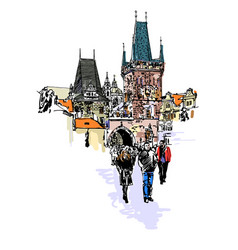 a view of the charles bridge tower in prague vector image