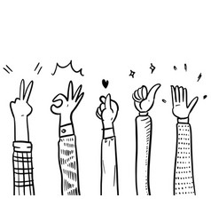 Applause thumbs up korean hand gestures on vector
