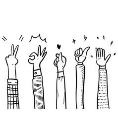 Applause thumbs up korean hand gestures vector