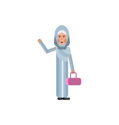 arabic woman with ladies handbag waving hand vector image