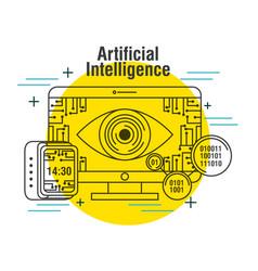 Artificial intelligence computer monitor clock vector