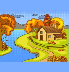 Autumn landscape pop art vector