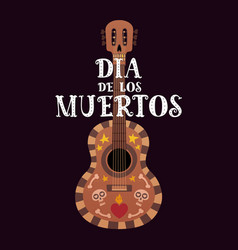 Banner for the day of dead with guitar and dia de vector