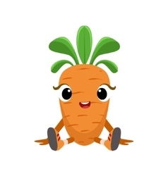 Big Eyed Cute Girly Carrot Character Sitting vector