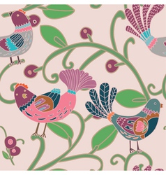 Birds and floral pattern vector