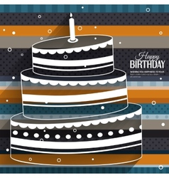 Birthday card with cake on stripes colorful vector