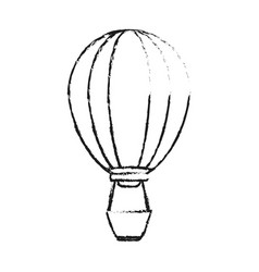 black blurred silhouette cartoon hot air balloon vector image