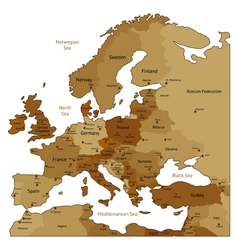 Brown map of Europe vector