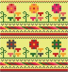 Bulgarian embroidery flower ornament vector