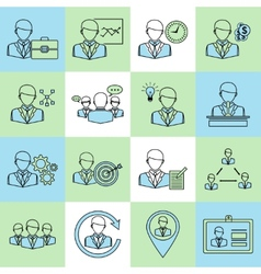 Business and management icons flat line vector image