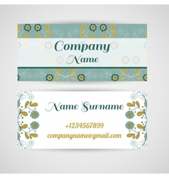 Business Card Blue Flowers vector image