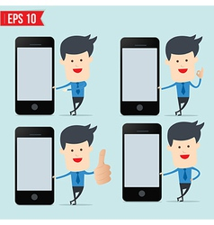 Business man show blank smartphone screen vector