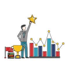 businessman holding star chart trophy flag success vector image