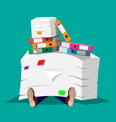 businessman in pile of office papers vector image