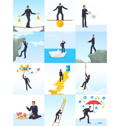 Businessman risk man in risky or dangerous vector