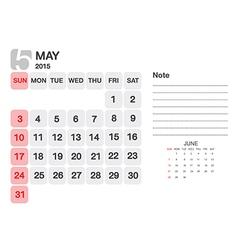 Calendar may 2015 vector