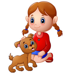 Cartoon little girl stroked the dog s head vector