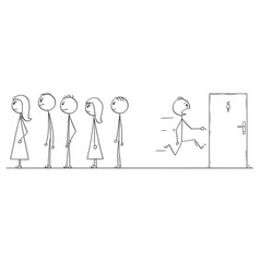Cartoon of man waiting in queue who need to visit vector