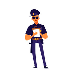 Cartoon police officer writing a ticket - serious vector