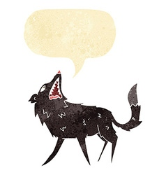 cartoon snapping wolf with speech bubble vector image