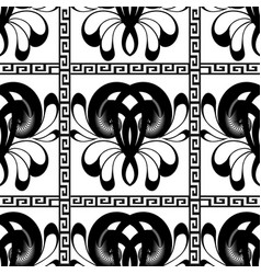 checkered black and white greek seamless pattern vector image