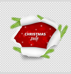 christmas sale banner ripped paper hole with vector image