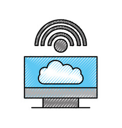 cloud computing computer internet wifi connected vector image