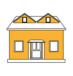 Color silhouette cartoon yellow facade house with vector