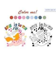Coloring book unicorn vector