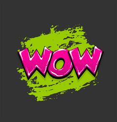 Comic text pop art grunge brush wow vector