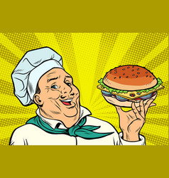 cook chef man presentation gesture hamburger vector image