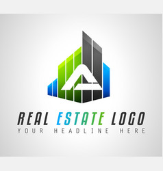 creative real estate logo design for brand vector image