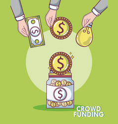 Crowdfunding money business vector