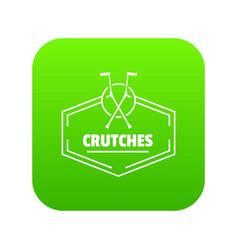 Crutches icon green vector